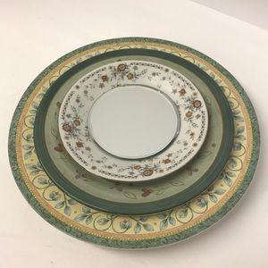 Stacked Dinner Plate MIRROR Green Floral Decor